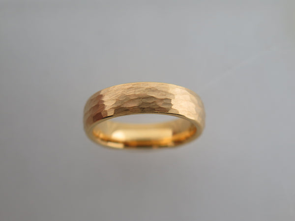 6mm Hammered Brushed Yellow Gold* Tungsten Carbide Unisex Band