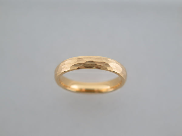 4mm Hammered Brushed Yellow Gold* Tungsten Carbide Unisex Band