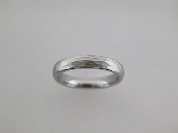 4mm Hammered Brushed Silver* Tungsten Carbide Unisex Band