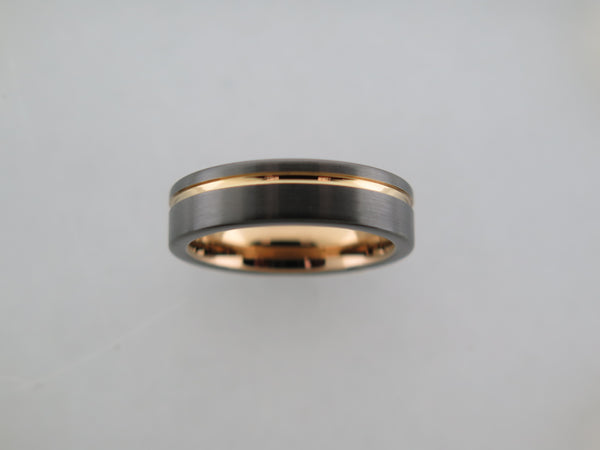 6mm Dark Grey Brushed Tungsten Carbide Unisex Band With Black Side Walls & Yellow Gold* Stripe