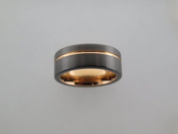 8mm Dark Grey Brushed Tungsten Carbide Unisex Band With Black Side Walls & Yellow Gold* Stripe