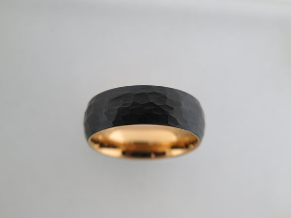 8mm Hammered Brushed Black Tungsten Carbide Unisex Band With Yellow Gold* Interior