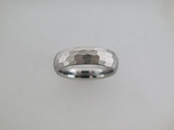 6mm Hammered Silver* Brushed Tungsten Carbide Unisex Band