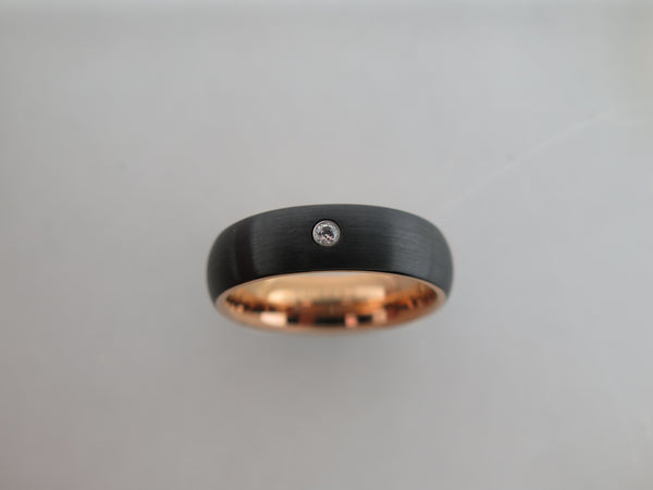 6mm BRUSHED Black Tungsten Carbide Unisex Band with CZ Stone & Rose Gold Interior