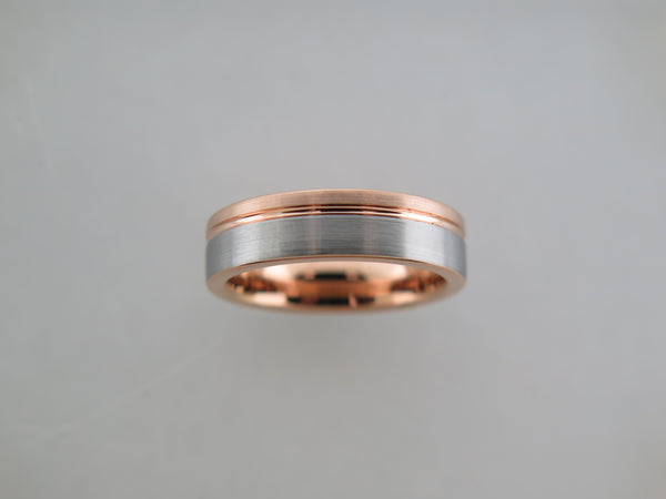 6mm BRUSHED Two-Tone Silver* and Rose Gold* Tungsten Carbide Unisex Band