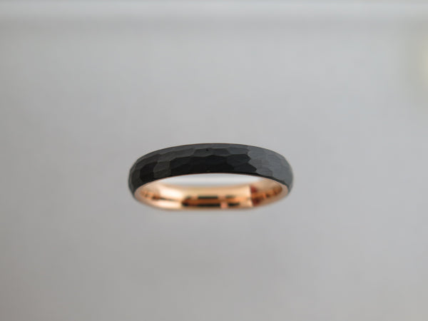 4mm HAMMERED Black Tungsten Carbide Unisex Band With Rose Gold* Interior