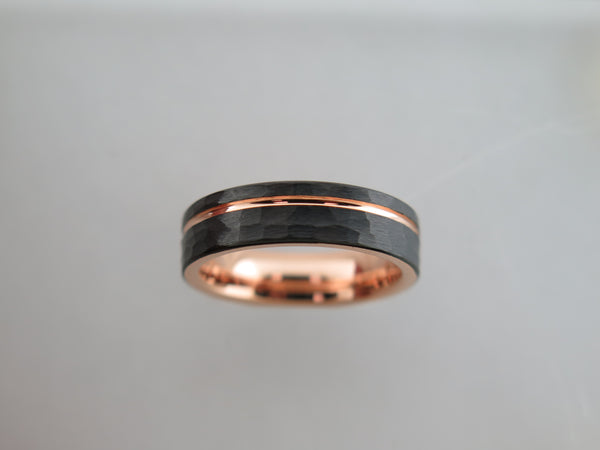 6mm Hammered Black Brushed Tungsten Carbide Unisex Band With Rose Gold* Stripe & Interior