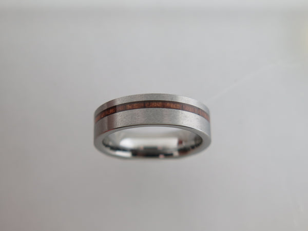 6mm Silver* Brushed Tungsten Carbide Unisex Band with Koa Wood Stripe Inlay