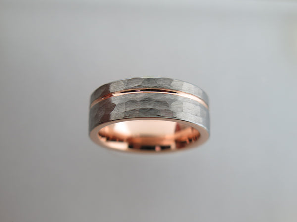8mm Hammered Brushed Tungsten Carbide Unisex Band with Rose Gold* Stripe and Interior