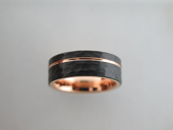 8mm Hammered Black Brushed Tungsten Carbide Unisex Band With Rose Gold* Stripe & Interior