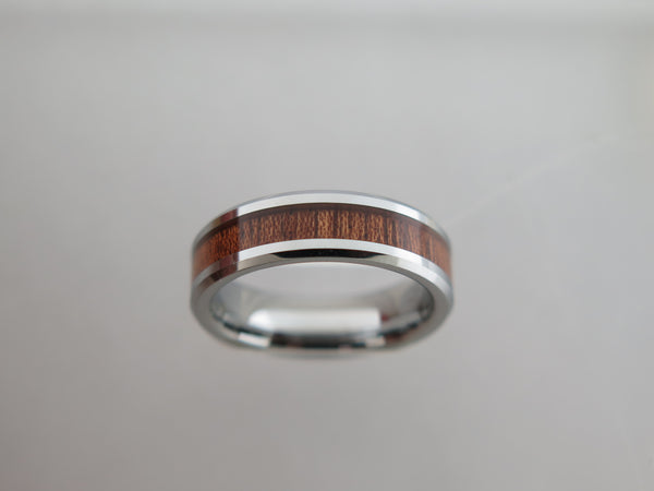 6mm POLISHED Silver* Tungsten Carbide Unisex Band with KOA Wood Inlay