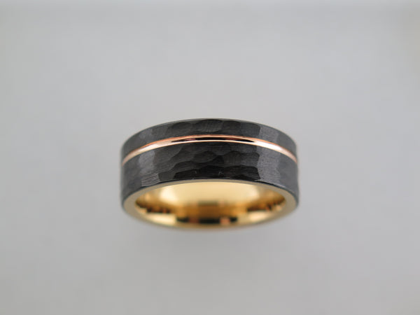8mm Hammered Black Brushed Tungsten Carbide Unisex Band With Yellow Gold* Stripe & Interior