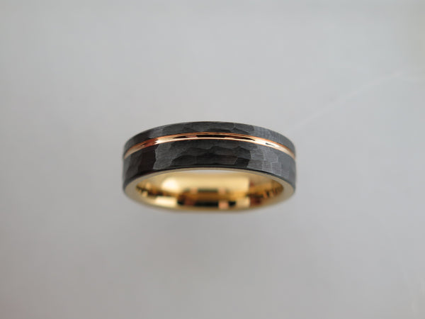 6mm Hammered Black Brushed Tungsten Carbide Unisex Band With Yellow Gold* Stripe & Interior
