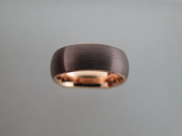 8mm BRUSHED Mocha Brown Tungsten Carbide Unisex Band With Rose Gold* Interior