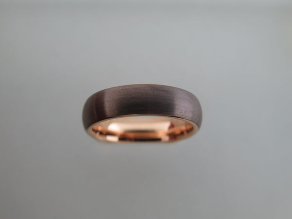 6mm BRUSHED Mocha Brown Tungsten Carbide Unisex Band With Rose Gold* Interior