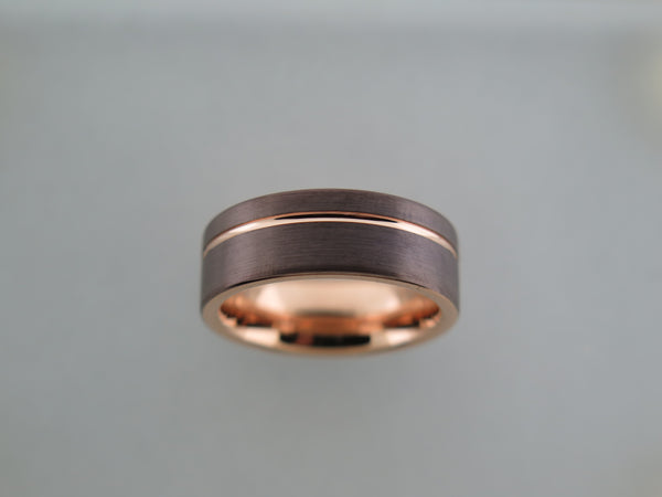 8mm Brushed Mocha Brown Tungsten Carbide Unisex Band With Rose Gold* Interior and Stripe