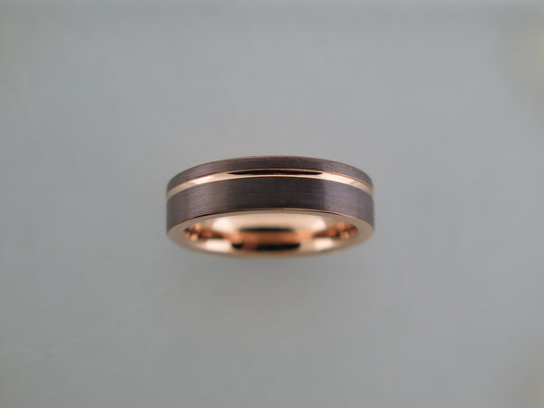 6mm BRUSHED Mocha Brown Tungsten Carbide Unisex Band With Rose Gold* Stripe and Interior