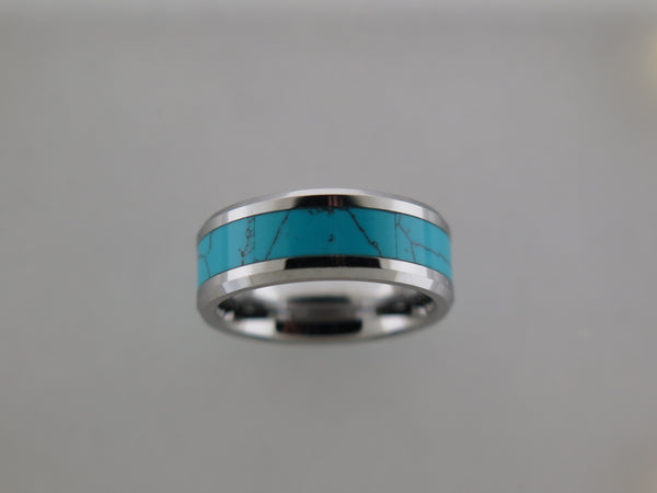 8mm POLISHED Silver* Tungsten Carbide Unisex Band with Turquoise Inlay