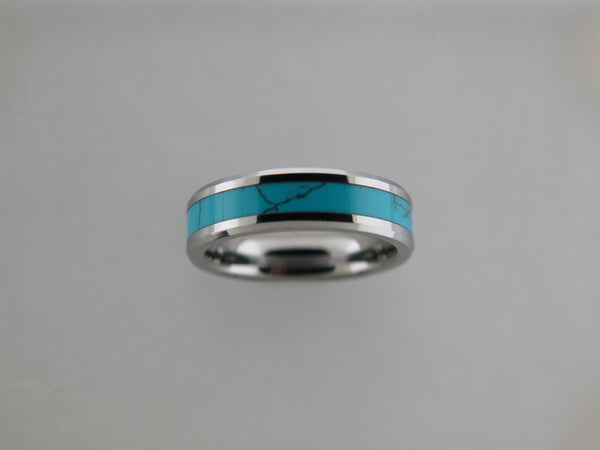 6mm POLISHED Silver* Tungsten Carbide Unisex Band with Turquoise Inlay