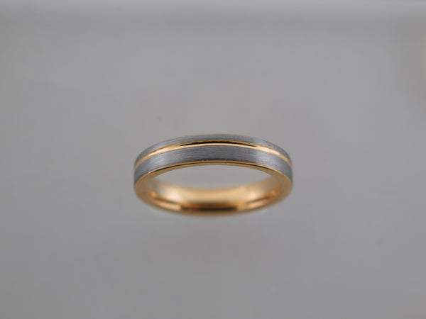 4mm Brushed Tungsten Carbide Unisex Band with Yellow Gold* Stripe & Interior
