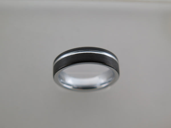 6mm BRUSHED Black Tungsten Carbide Unisex Band with Silver* Stripe & Interior