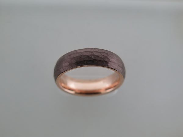 6mm Hammered Brushed Mocha Brown Tungsten Carbide Unisex Band With Rose Gold* Interior