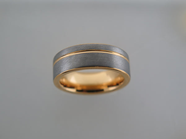 8mm Brushed Tungsten Carbide Unisex Band with Yellow Gold* Stripe and Interior