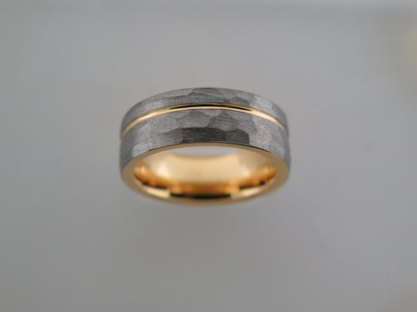 8mm HAMMERED Silver* Tungsten Carbide Unisex Band with Yellow Gold* Stripe and Interior