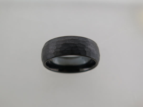 8mm Hammered Brushed Black Tungsten Carbide Unisex Band