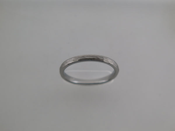 2mm Hammered Brushed Silver* Tungsten Carbide Unisex Band