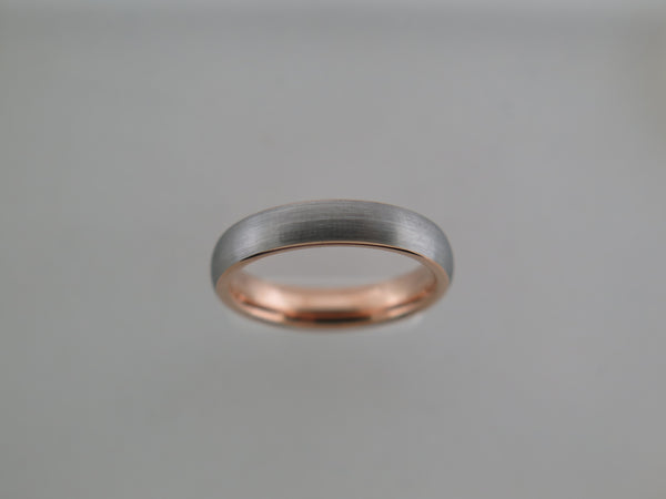4mm BRUSHED Tungsten Carbide Unisex Band With Rose Gold* Interior