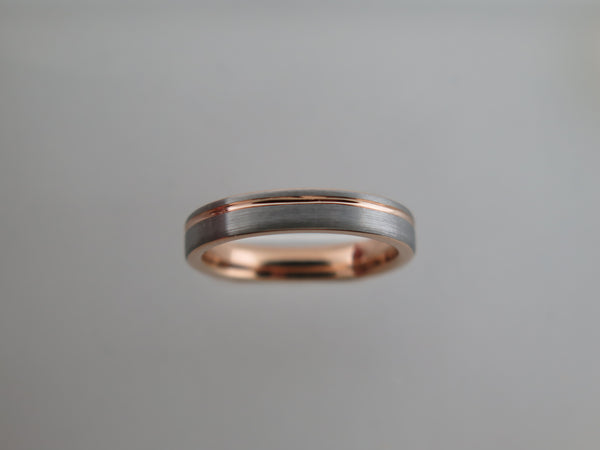 4mm BRUSHED Tungsten Carbide Unisex Band with Rose Gold* Stripe & Interior