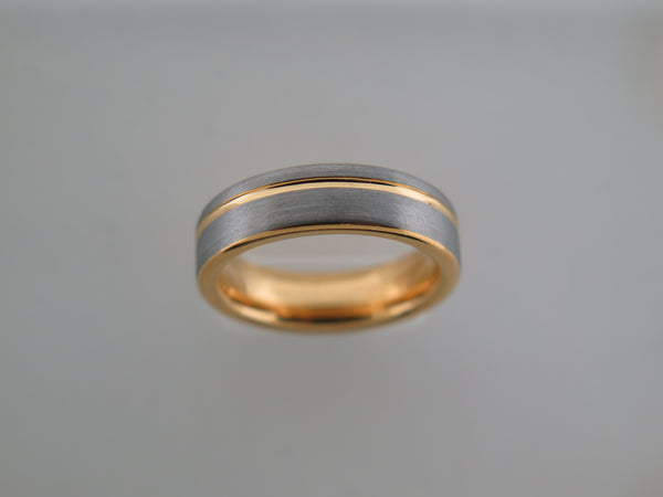 6mm Brushed Tungsten Carbide Unisex Band with Yellow Gold* Stripe & Interior