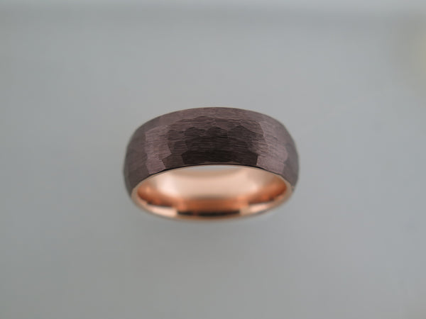 8mm HAMMERED Mocha Brown Tungsten Carbide Unisex Band With Rose Gold* Interior