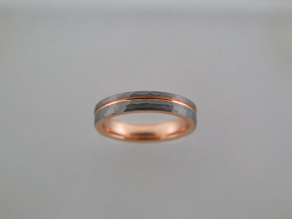 4mm Hammered Brushed Tungsten Carbide Unisex Band with Rose Gold* Stripe & Interior