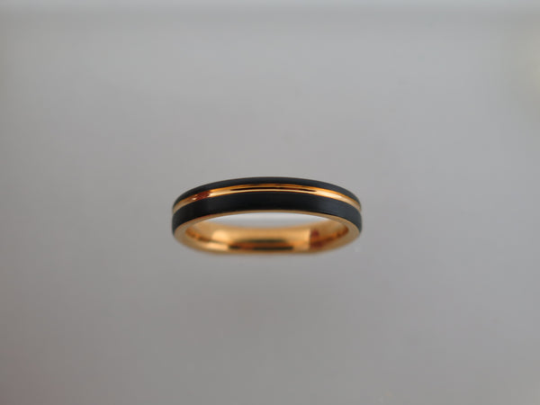 4mm Black Brushed Tungsten Carbide Unisex Band With Yellow Gold* Stripe & Interior