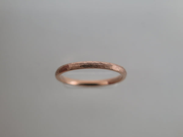 2mm Hammered Brushed Rose Gold* Tungsten Carbide Unisex Band