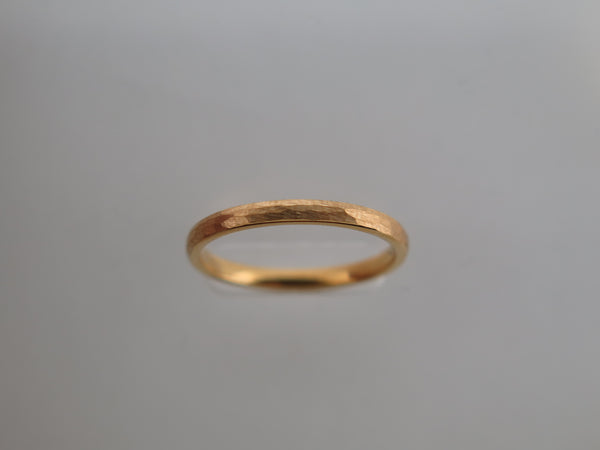 2mm HAMMERED Yellow Gold* Tungsten Carbide Unisex Band