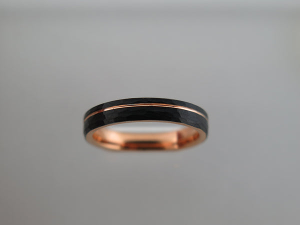 4mm Hammered Black Brushed Tungsten Carbide Unisex Band With Rose Gold* Stripe & Interior