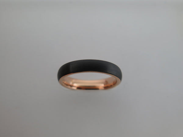 4mm BRUSHED Black Tungsten Carbide Unisex Band With Rose Gold* Interior