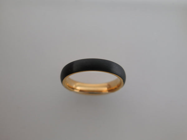 4mm Brushed Black Tungsten Carbide Unisex Band With Yellow Gold* Interior