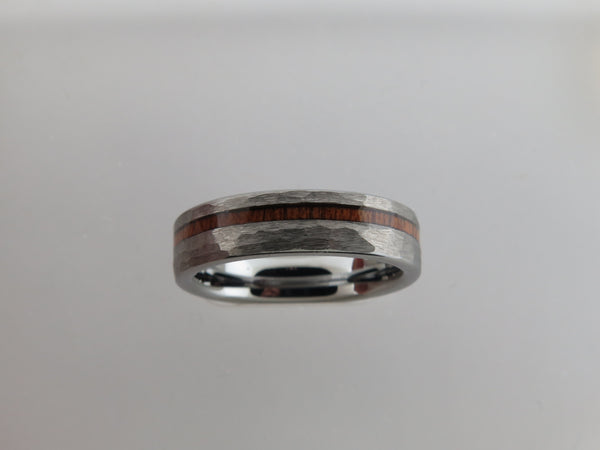 6mm HAMMERED Silver* Tungsten Carbide Unisex Band with KOA Wood Stripe Inlay