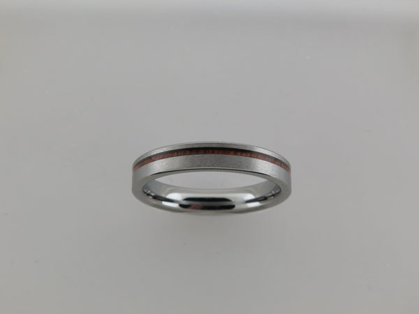 4mm Silver* Brushed Tungsten Carbide Unisex Band with Koa Wood Stripe Inlay