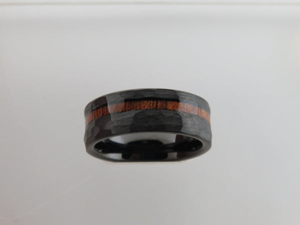 8mm Black Hammered Tungsten Carbide Unisex Band with KOA Wood Stripe Inlay