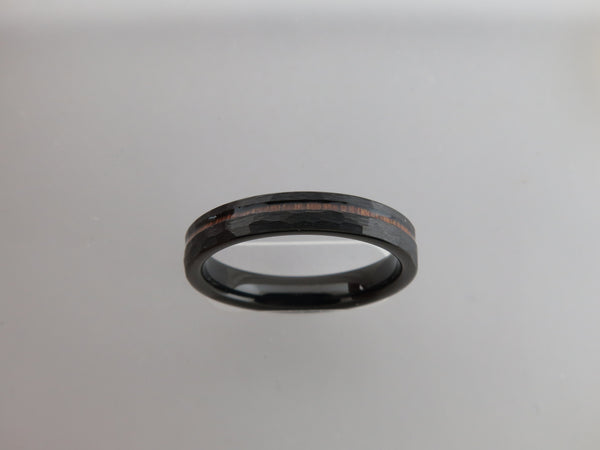 4mm Hammered Black Brushed Tungsten Carbide Unisex Band with KOA Wood Stripe Inlay