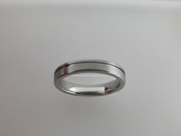 4mm Brushed Silver* Tungsten Carbide Unisex Band With Stripe