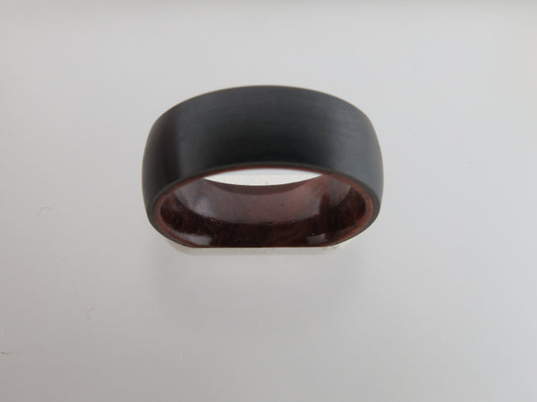 8mm Brushed Black Tungsten Carbide Unisex Band With KOA Wood Interior
