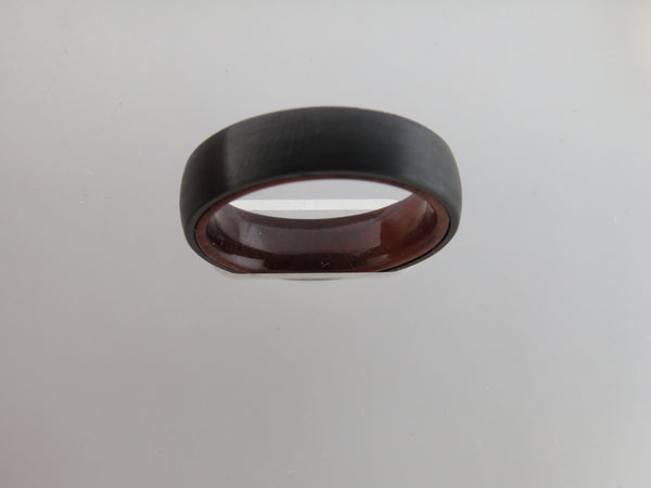 6mm BRUSHED Black Tungsten Carbide Unisex Band With KOA Wood Interior