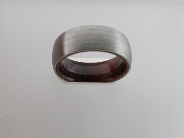 8mm Brushed Silver* Tungsten Carbide Unisex Band With KOA Wood Interior