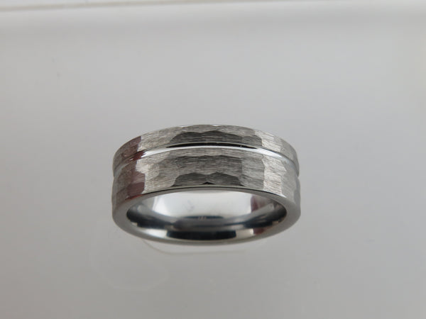 8mm Hammered Brushed Silver* Tungsten Carbide Unisex Band With Stripe